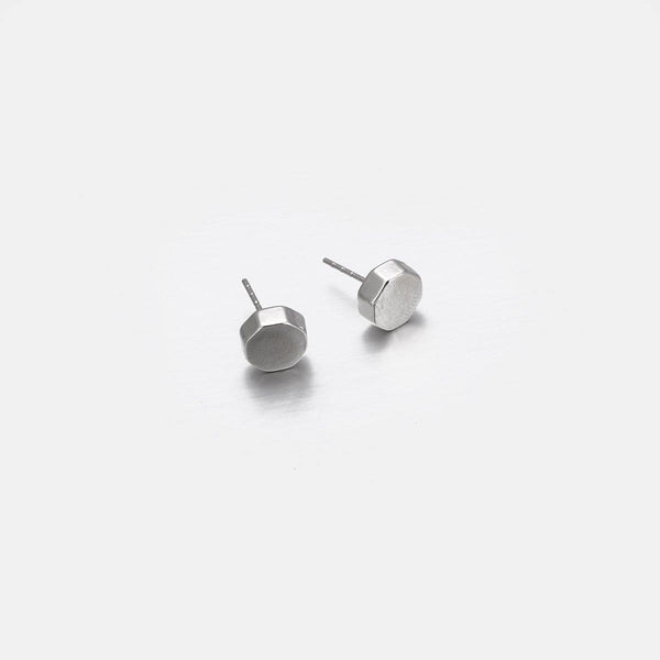 Geo Stud Earrings In Silver - designblondon