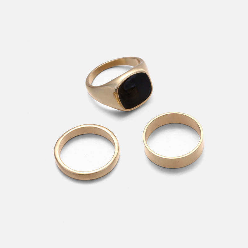 Signet & Band 3 pack In Gold & Black