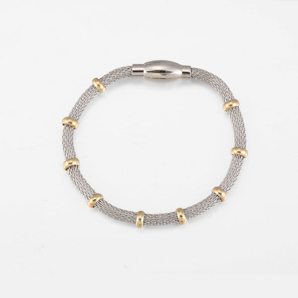 Bracelet In Silver With Gold Ring Detail & Magnetic Clasp - designblondon