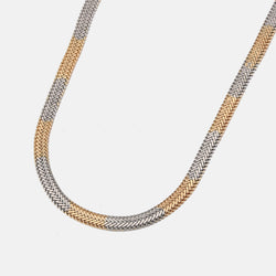 Flat snake neckchain in mixed metal