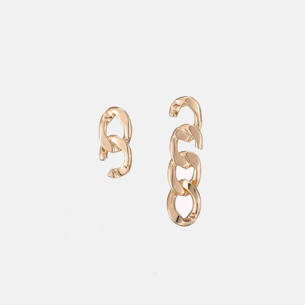 Broken Link Chain Earrings In Gold - designblondon