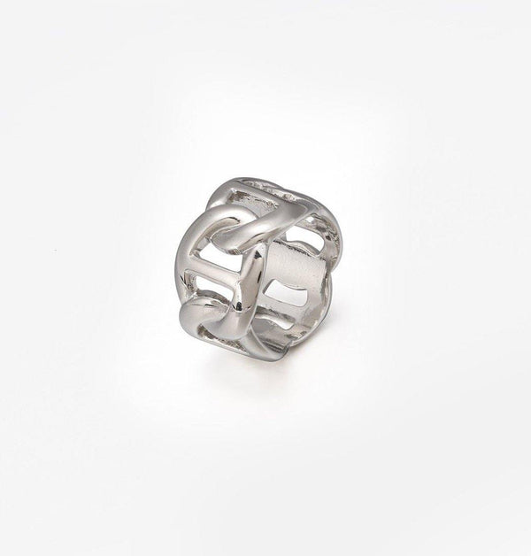 Anchor Chain  Band Ring  in Silver
