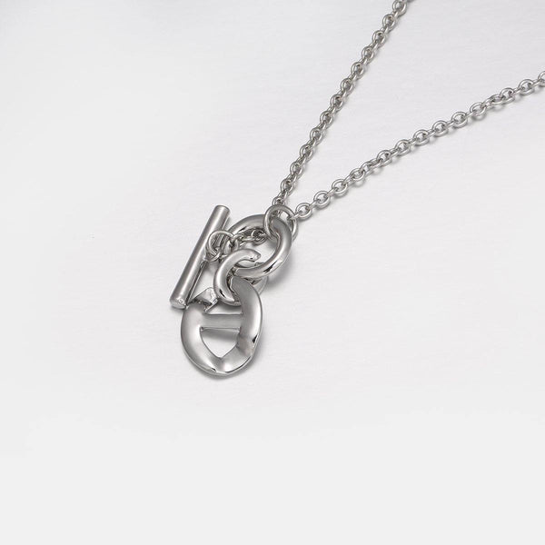 Necklace with Anchor Chain Link Pendant  in Silver