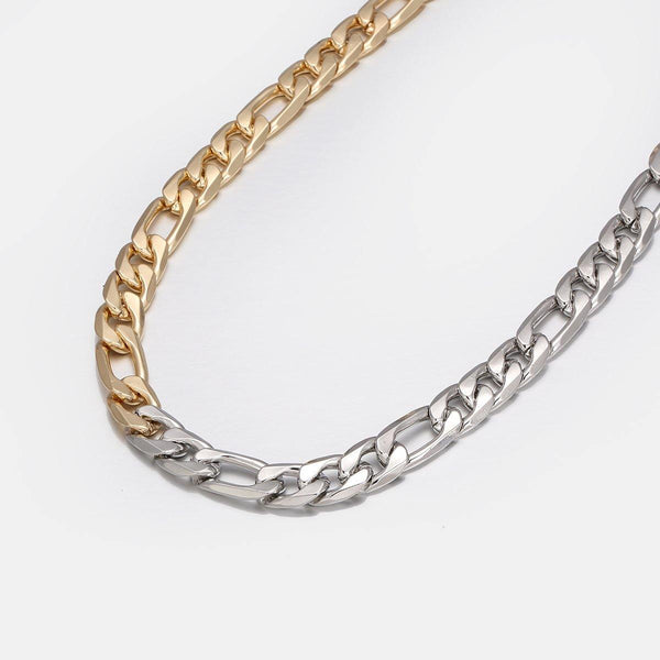 2 Tones Figaro Chain Necklace - designblondon