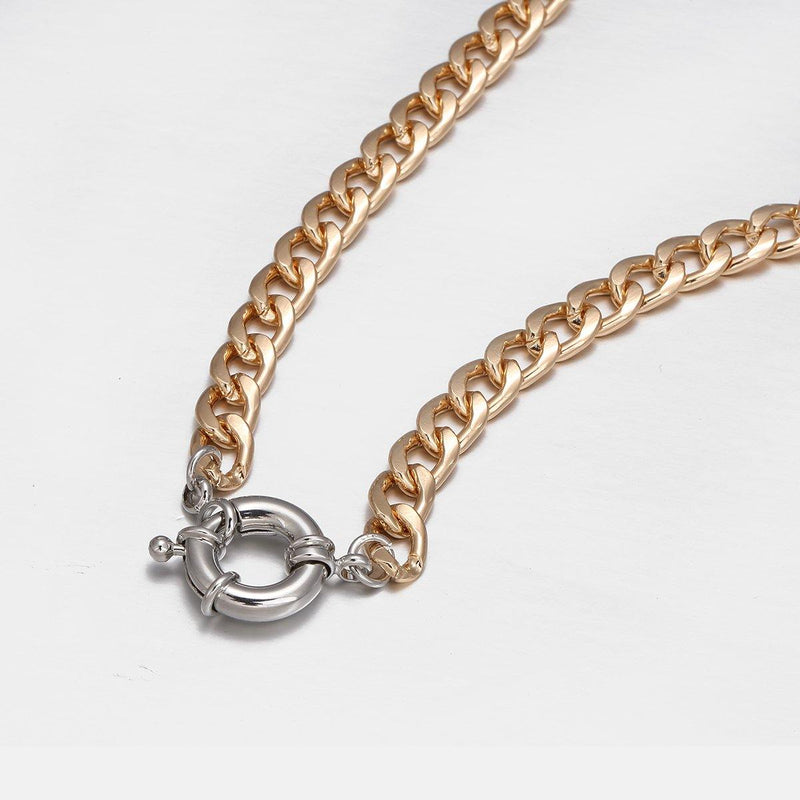 Neckchain in Gold with Silver Spring Ring Clasp