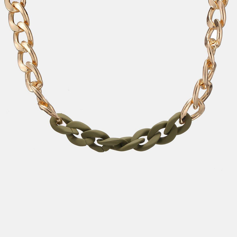 Chunky Chain Necklace in Gold and Matte Khaki - designblondon