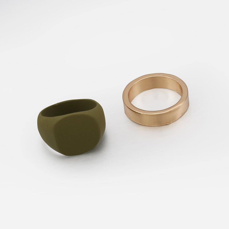 Pack of  2 Rings in Gold and Matte Khaki