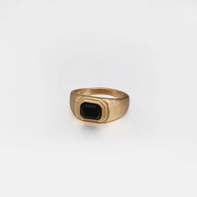 Black Cut Glass Signet Ring in Gold - designblondon