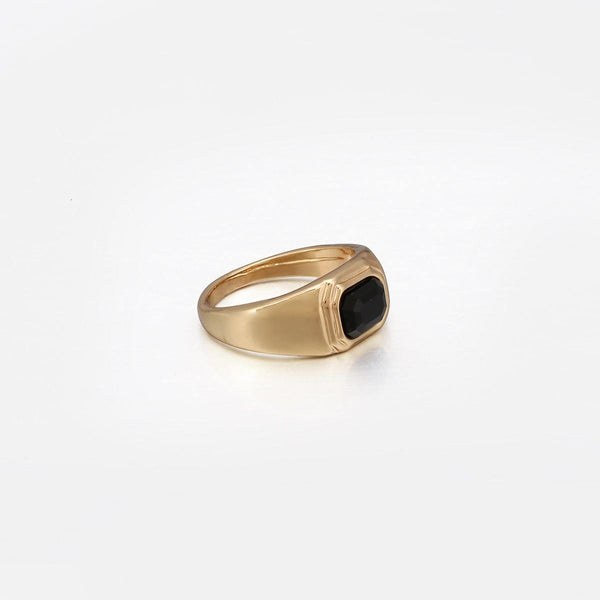 Black Cut Glass Signet Ring in Gold