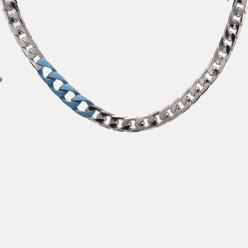 Chunky Neckchain in Silver with Blue Rubber Links