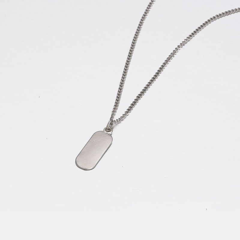 Mini Dogtag Pendant Necklace in Silver