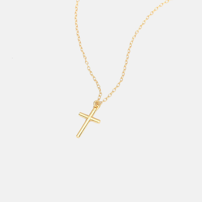 Cross Necklace In Sterling Silver With  Real Gold Plating