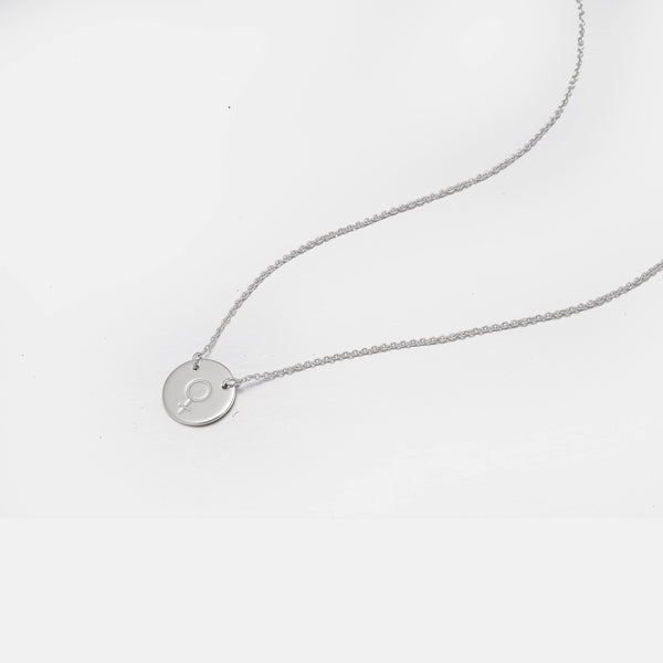 Circle Symbol Necklace In 𝙎𝙩𝙚𝙧𝙡𝙞𝙣𝙜 𝙎𝙞𝙡𝙫𝙚𝙧 - designblondon