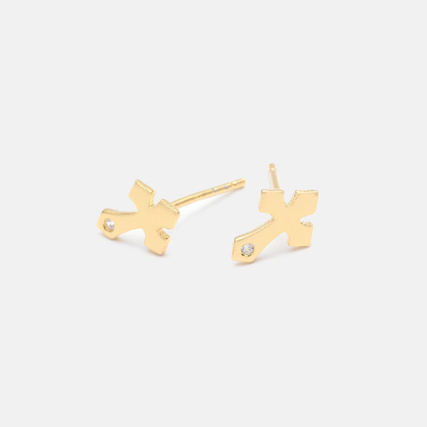 Designb gold plated cross stud earrings in sterling silver