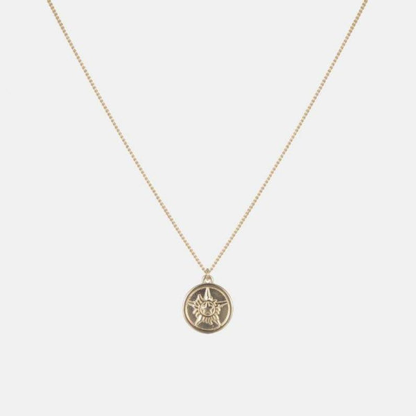 Circle Charm Necklace With Gold Plating In Sterling Silver