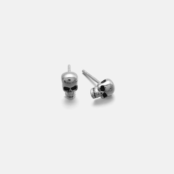 Skull Stud Earrings In Sterling Silver