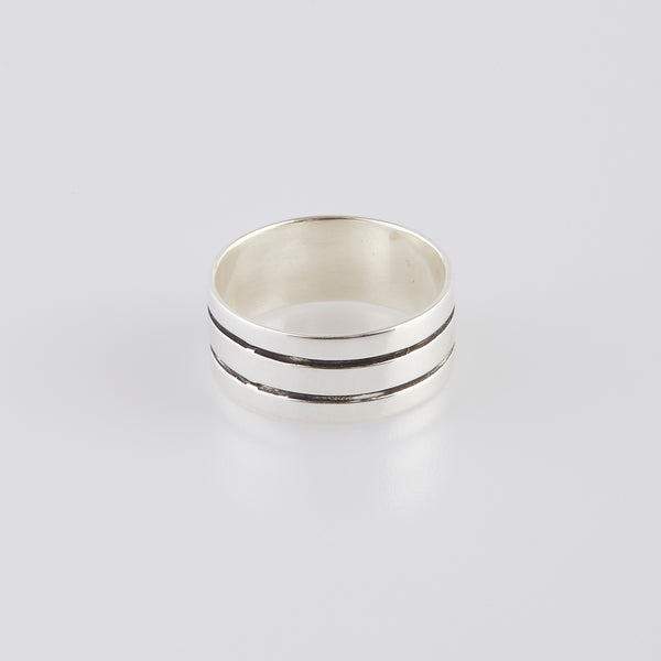 DesignB Tri Band Ring In Sterling Silver