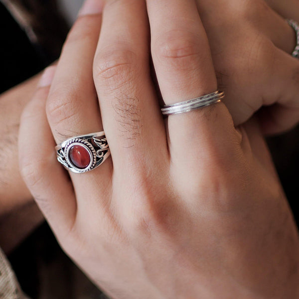 Red Stone Signet Ring In Antique Silver - designblondon