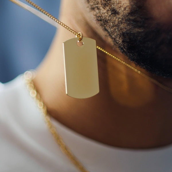 Layered Dog Tag Necklace In Gold - designblondon