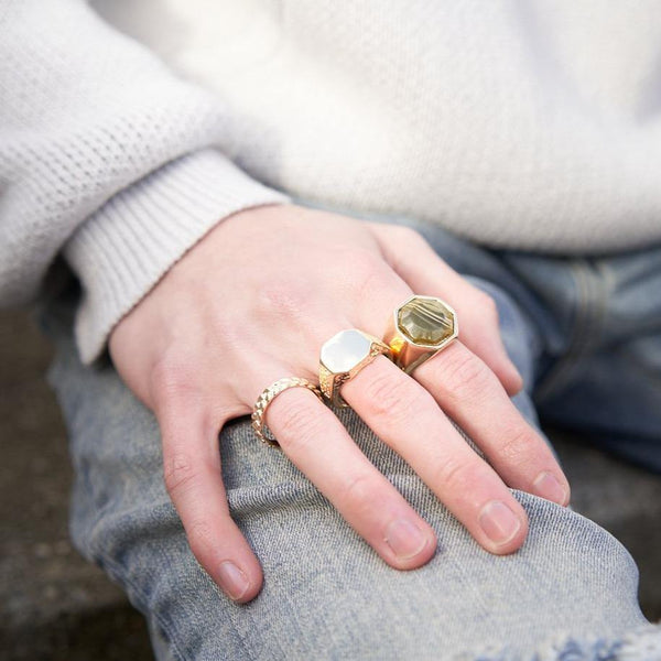 Green Signet & Band Rings In 3 Pack - designblondon