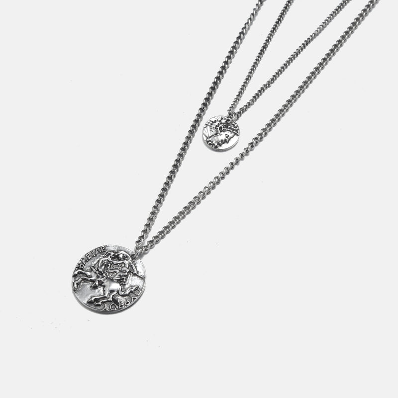 Layered Necklace With Circle Pendant In Silver - designblondon