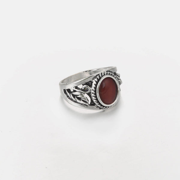 Designb signet ring with red stone in silver