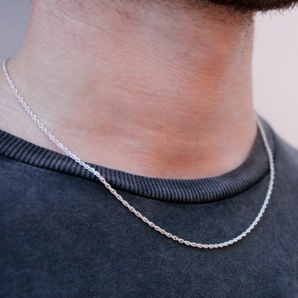 Thin Chain Necklace in Sterling Silver