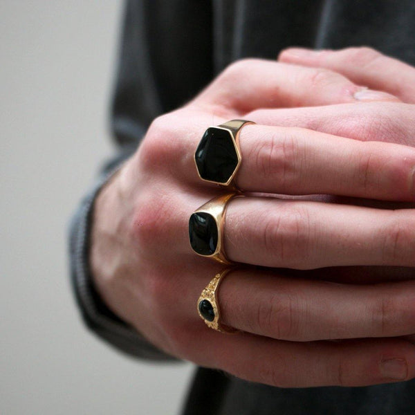 Gold & Black Chunky Rings In 3-Pack