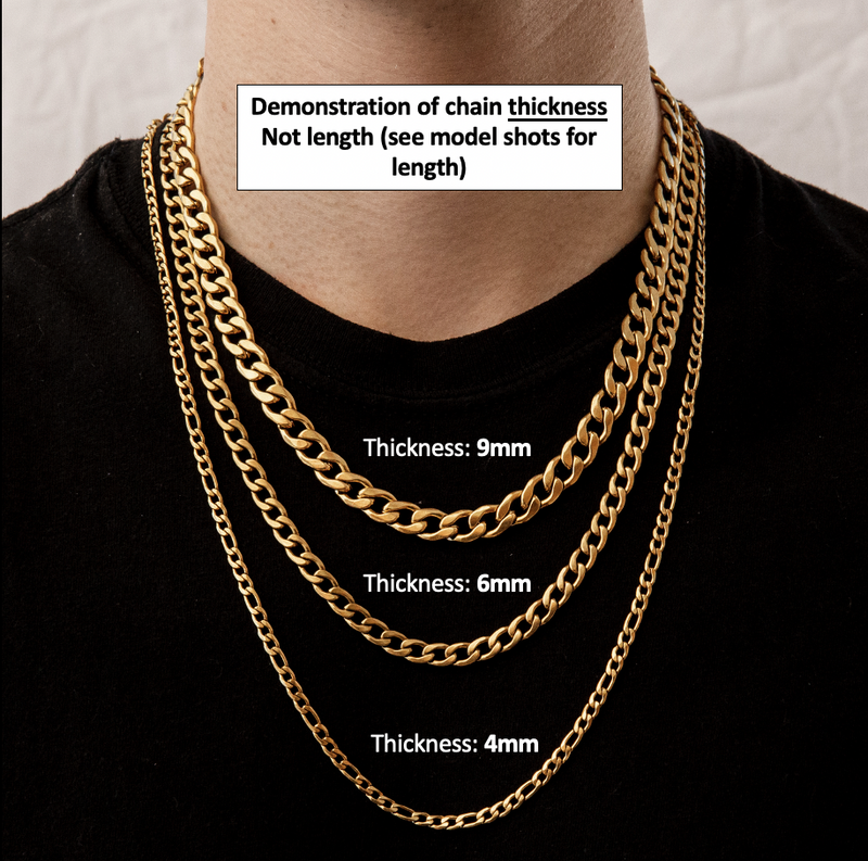Curb Chain Necklace in Gold 𝙎𝙩𝙖𝙞𝙣𝙡𝙚𝙨𝙨 𝙎𝙩𝙚𝙚𝙡 - 6mm