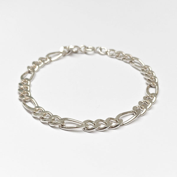Figaro Chain Bracelet in Sterling Silver