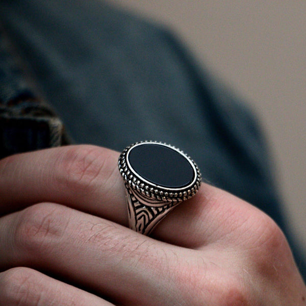 Signet Ring With Black Resin In Antique Silver - designblondon