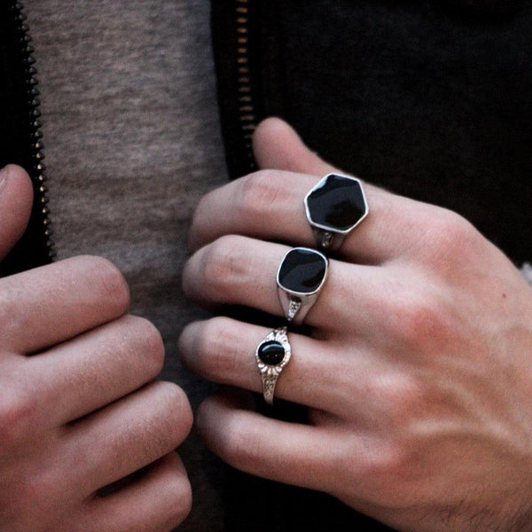 Silver & Black Chunky Rings In 3-Pack - designblondon