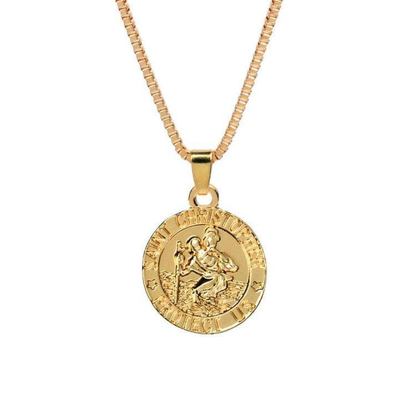 St Christopher coin pendant in Gold