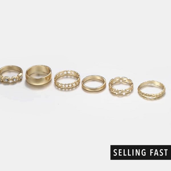 Gold Multi-Design Band Rings In 6 Pack - designblondon
