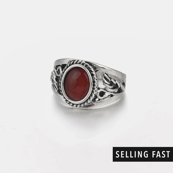red stone signet ring in antique silver
