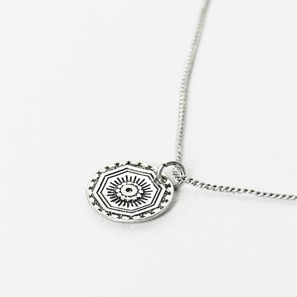 Vintage Coin Necklace In Sterling Silver