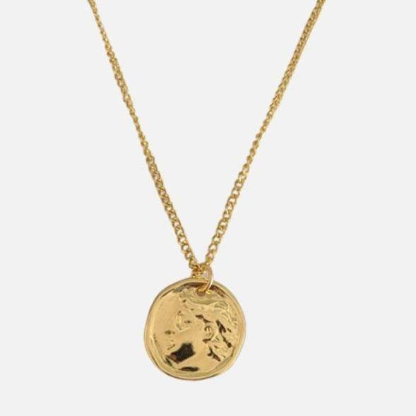 DesignB Coin Pendant Necklace in Gold Finish