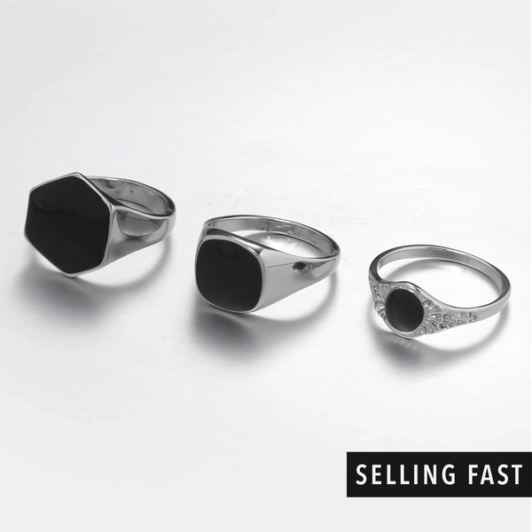 Silver & Black Chunky Rings In 3-Pack