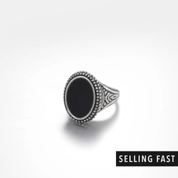 Signet Ring With Black Resin In Antique Silver