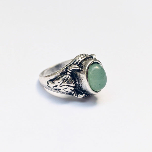Chunky Green Stone Ram Ring In Silver - designblondon