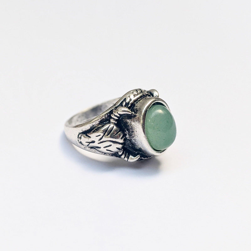 Chunky green stone ram ring in silver