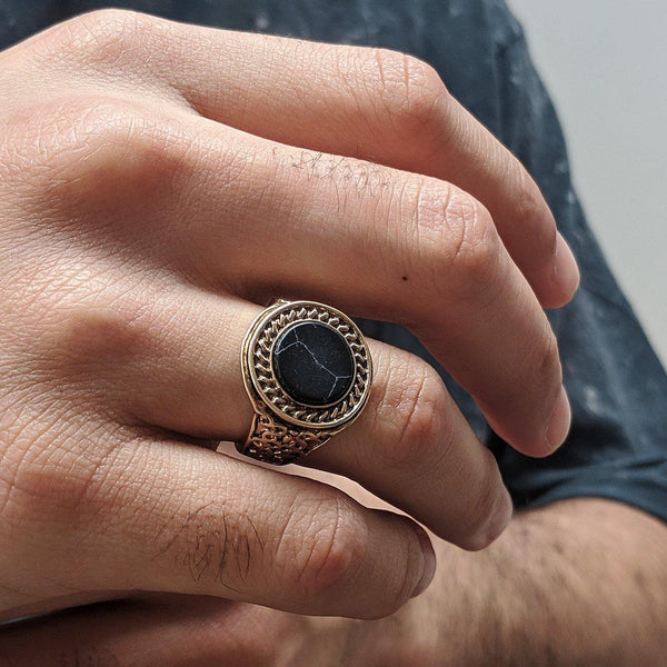 Black Marble Signet Ring In Burnished Gold