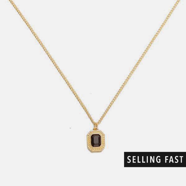 Black Cut Necklace In Gold - designblondon