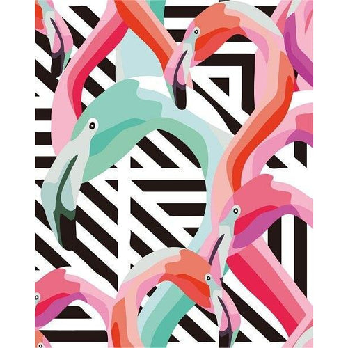 Abstract Flamingos - DIY Oil Painting on Canvas - Paint By Numbers-EasyWhim
