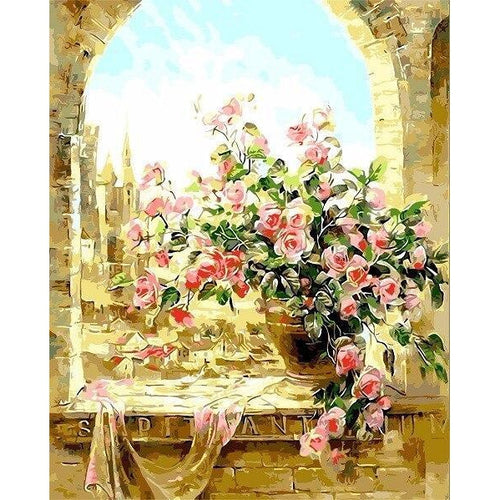 Ancient Flower - DIY Oil Painting on Canvas - Paint By Numbers-EasyWhim