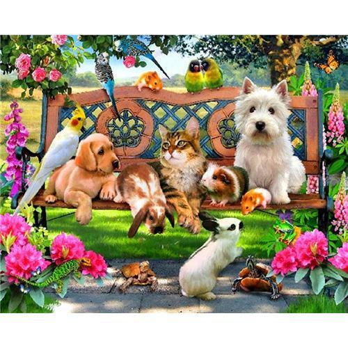 Animal Park - DIY Oil Painting on Canvas - Paint By Numbers-EasyWhim