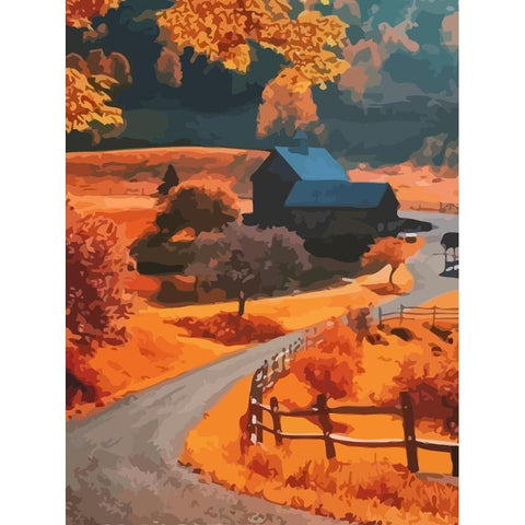 Autumn Roads - DIY Oil Painting on Canvas - Paint By Numbers-EasyWhim