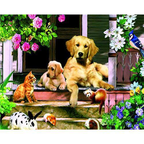 Backyard Friends - DIY Oil Painting on Canvas - Paint By Numbers-EasyWhim