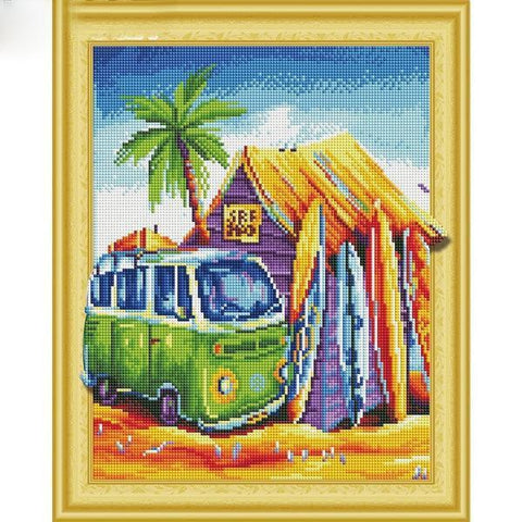 Image of Beach Hut - DIY 5D Diamond Painting - 3D Drill-EasyWhim