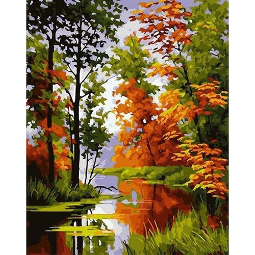 Beautiful River - DIY Oil Painting on Canvas - Paint By Numbers-EasyWhim